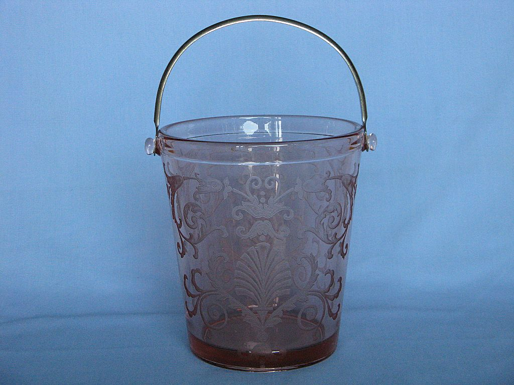 Fostoria Glass Pink Versailles Ice Bucket