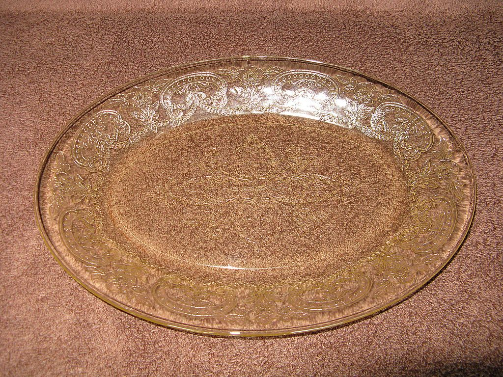 Depression Glass Yellow Horseshoe Platter