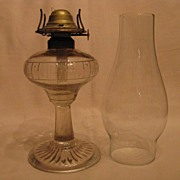 1870 Checkered Star Band Small Stand Oil Lamp