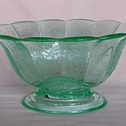 Paden City Glass Green Cupid Footed Oval Bowl