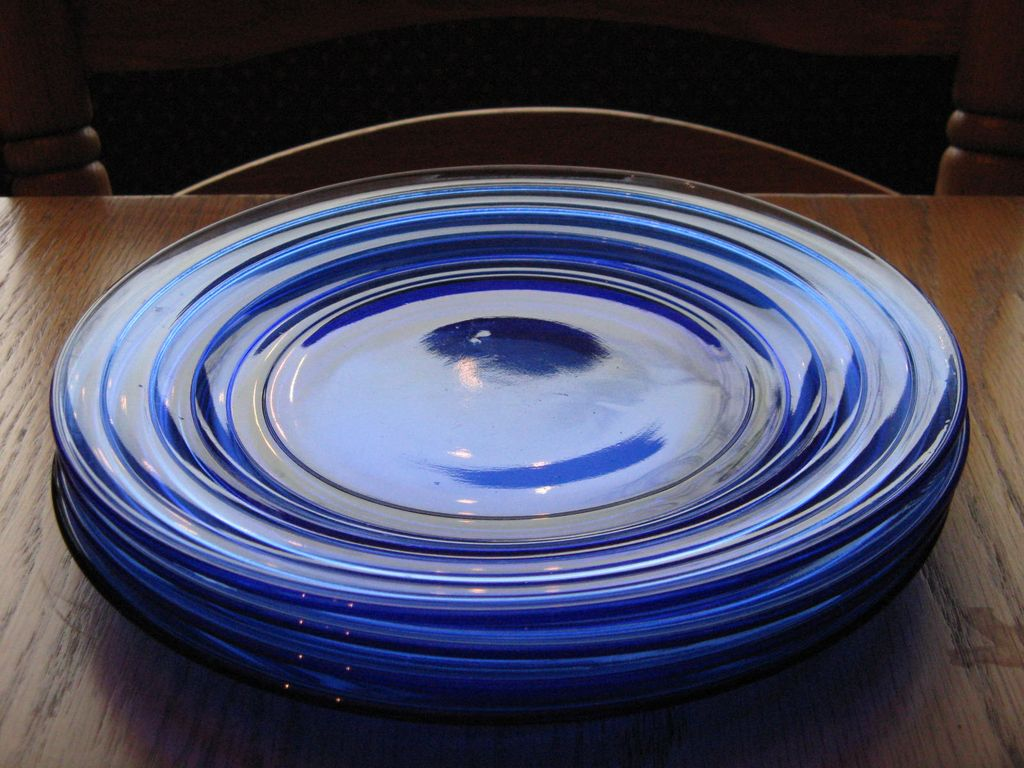 Depression Glass Cobalt Blue Moderntone Dinner Plates