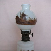 Bristol-Type Milk Glass Miniature Oil Lamp w/ Painted Scenes