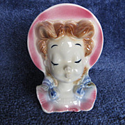 Royal Copley Pigtail Girl Planter Wall Pocket