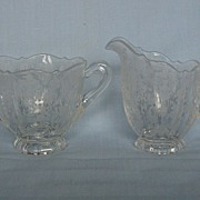 Cambridge Glass Rose Point Individual Cream & Sugar