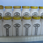 Griffiths' Laboratories, Chicago, Vintage 12 Spice Jars and Holding Rack