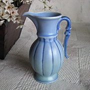 Stangl Blue Pottery Ribbed Pitcher / Ewer