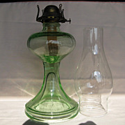 Green Glass One Piece Oil Lamp