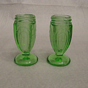 Hazel Atlas Green Salt & Pepper Shakers Without Tops