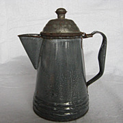 Small Mottled Gray Graniteware Coffee Pot
