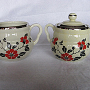 Hall China Red Poppy Daniel Creamer & Sugar And Lid