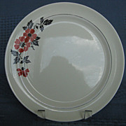 "Hall China Red Poppy 9"" Dinner Plate"