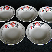 "Hall China Red Poppy 5-1/2"" Fruit Bowls"