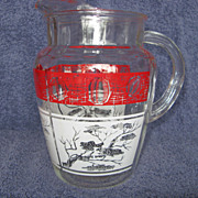 """Atomic Era"" Glass Pitcher With Ice Lip"