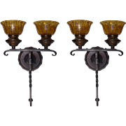 REDUCED Pair of Spanish Revival Wrought Iron Sconces with Amber Crackle Glass Shades
