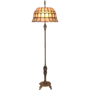REDUCED Signed Rembrandt Art Deco Floor Lamp with Leaded Shell Shade