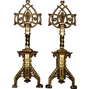 Antique Celtic Design Andirons with Dragon Heads