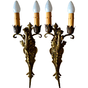 REDUCED Pair of Spanish Revival style, large double candle, solid brass sconces.
