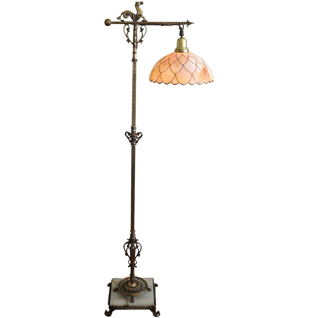 signed rembrandt floor lamp with large slag glass shade from. Black Bedroom Furniture Sets. Home Design Ideas