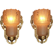 REDUCED Set of 4 Matching Art Deco Slip Shade Sconces, Signed Lightolier