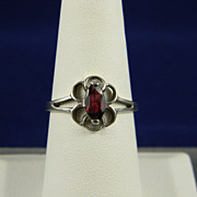 Charming Sterling Garnet Ring