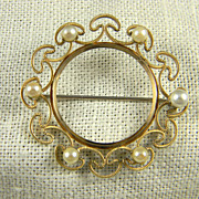 Mid Century Krementz Cultured Pearl Circle Pin