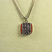 Artisan Sterling Amethyst And Coral Pendant With Chain