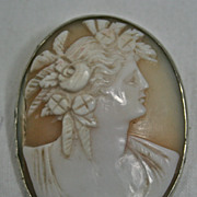 REDUCED Antique Victorian Ceres Goddess Harvest cameo shell brooch