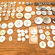 84 Vintage mother of pearl mop + shell buttons