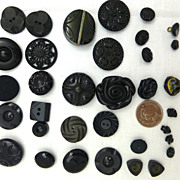 Antique and vintage black buttons- one horseshoe- lots of different shapes