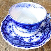 Antique Myott CRUMLIN flow blue cup and saucer.