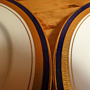 Aynsley cobalt royale 2 dinner plates 10 1/2""