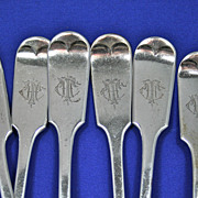 6 Antique Roden Birks sterling silver  forks fiddle-1890's