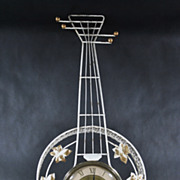 1950's United Clock Corp. White and Gold Banjo Electric Wall Clock Model: 260