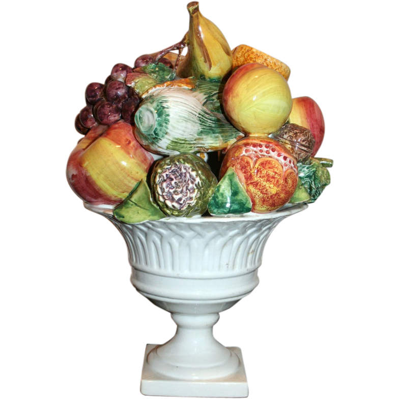 Vintage Italian Ceramic Fruit Centerpiece From