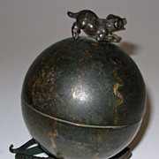 Wimsey Folk Art Round Box with Lizard Base and Puppy Dog Finial