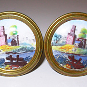18th Century Bilston Battersea Enameled Tie Backs pair