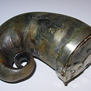 Antique Scottish Horn Snuff Mull with Silver Mounts