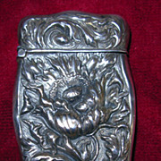 Antique Sterling Silver Match Safe or Vesta with Floral Design
