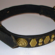 Antique Leather & Brass Dog's Collar with Bull Dog Stud