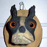 Folk Art French Bull Dog Head with Glass Eyes