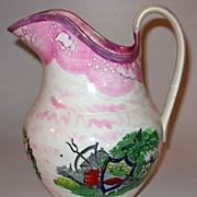 Antique Sunderland Pink Luster Farmers Arms Pitcher