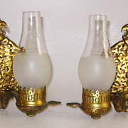 Arts & Crafts or Tudor Cast Bronze Double Light Wall Sconces Pair