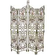 Four Panel Iron and Cast Brass Gates Now Mounted as a Screen