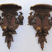 Pair of Carved Gilt and Paint Wall Brackets Birds and Fruit Motif