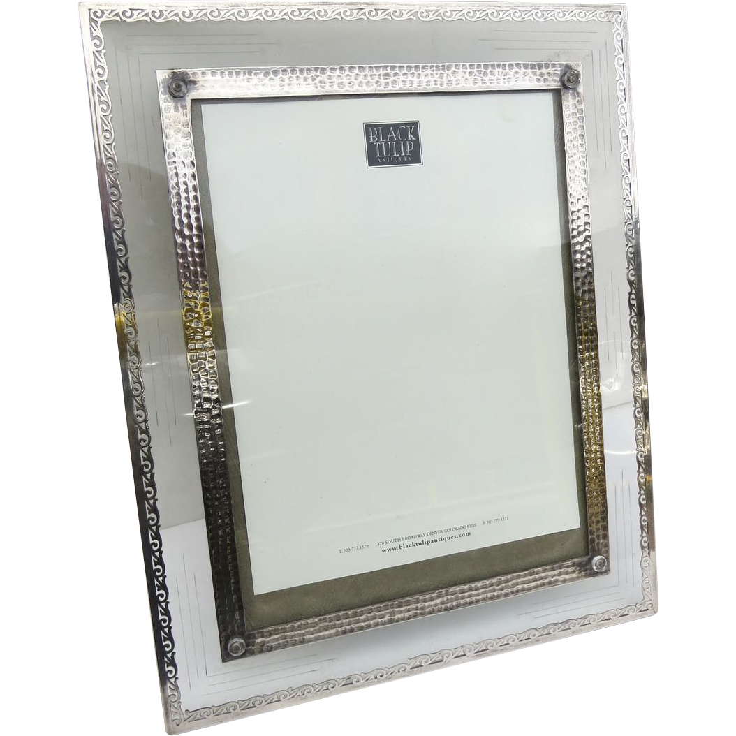 large stunning silver overlay and cut glass picture frame