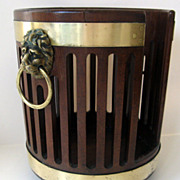 English George III Mahogany Brass Bound Plate Bucket