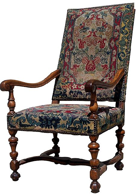 French walnut louis xiii arm chair from blacktulip on ruby lane - Louis th chairs ...