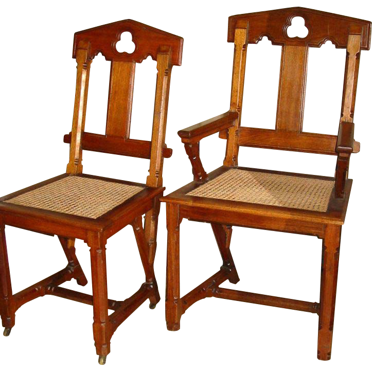 Set of  8 Walnut Gothic Revival Dining Chairs