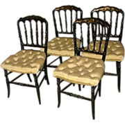 Set of Four Napoleon III Lacquer Chairs