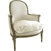 Louis XVI Style Painted Upholstered Arm Chair C1860